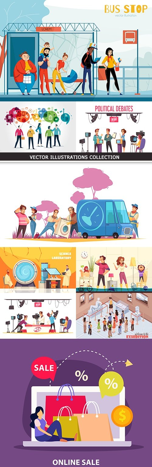 People in different life situations vector an illustration