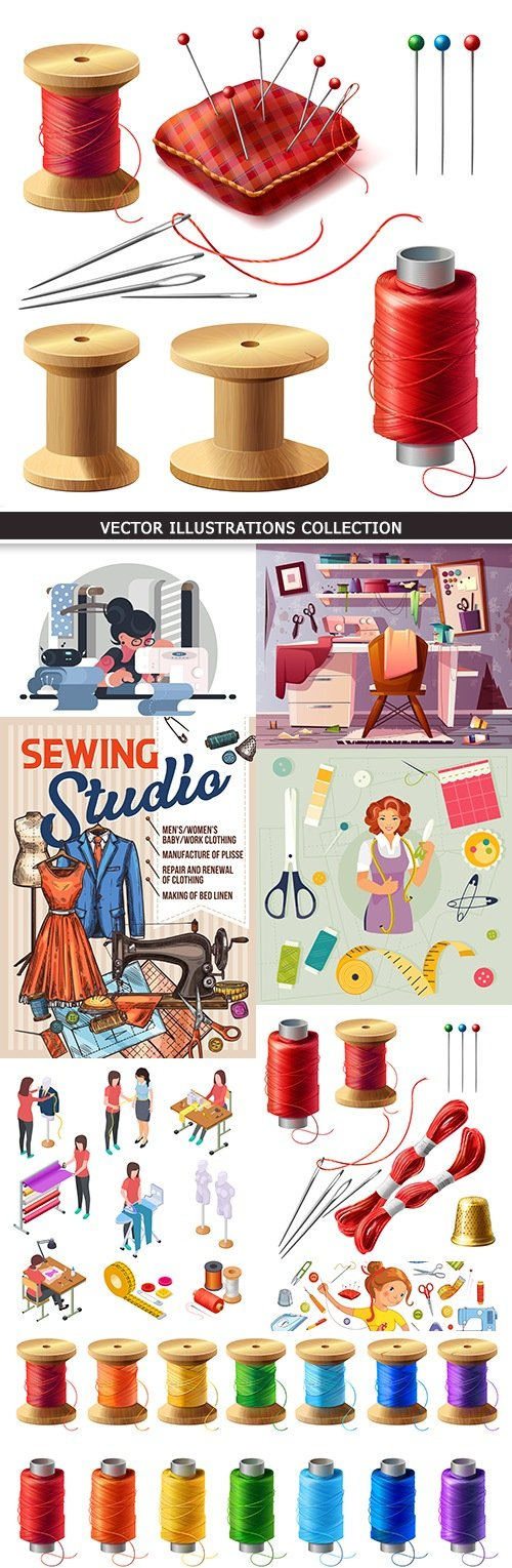 Sewing and needlework tools and tailor's equipment