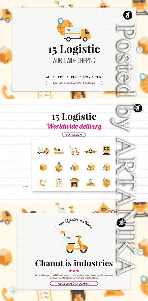 15 Logistic elements in flat design