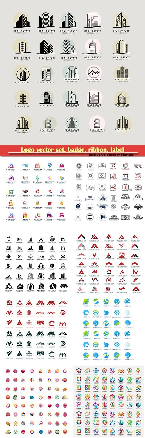 Logo vector set, badge, ribbon, label and  icon