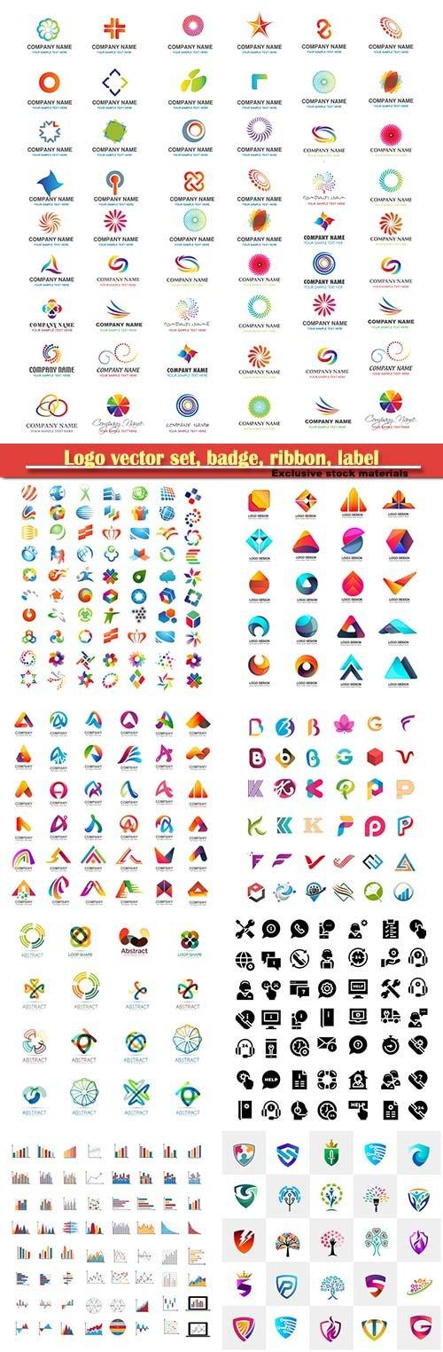 Logo vector set, badge, ribbon, label and  icon # 3