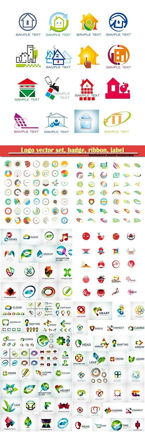 Logo vector set, badge, ribbon, label and  icon # 5