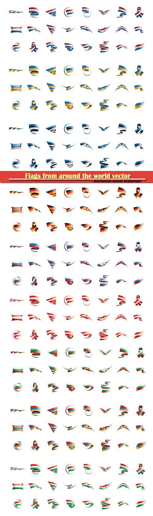 Flags from around the world vector illustration