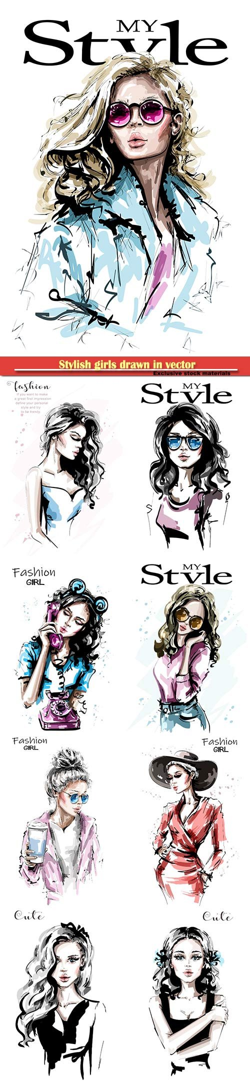 Stylish girls drawn in vector