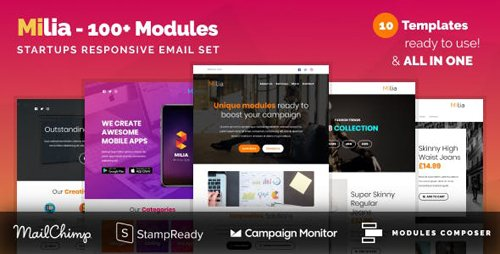 ThemeForest - Milia - Responsive Email with 100+ Modules + MailChimp Editor + StampReady + Online Builder (Update: 30 January 19) - 21672795