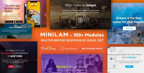 ThemeForest - Minilam - Responsive Email with 100+ Modules + MailChimp Editor + StampReady + Online Builder (Update: 29 January 19) - 22146341