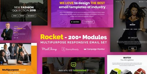 ThemeForest - Rocket - Responsive Email with 200+ Modules + MailChimp Editor + StampReady + Online Builder (Update: 23 January 19) - 23182697