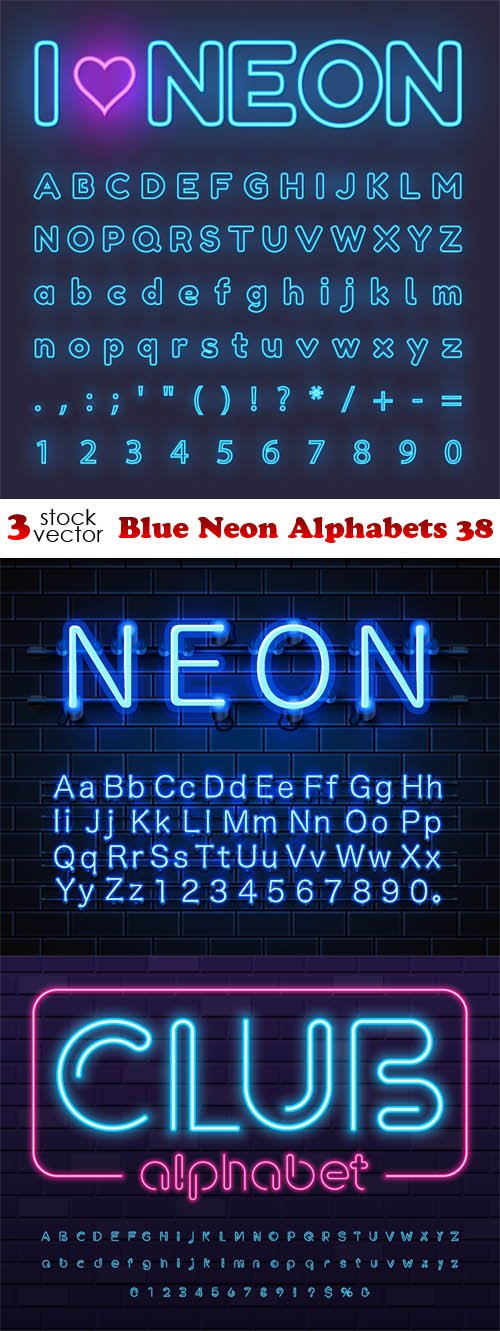 Vectors - Blue Neon Alphabets 38