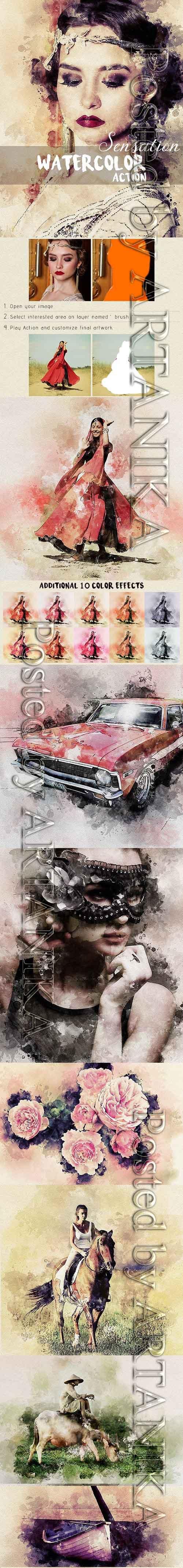 GraphicRiver - Sensation - Watercolor Photoshop Action 22502779