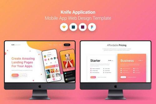 Knife Application Mobile App Landing Page Temlate