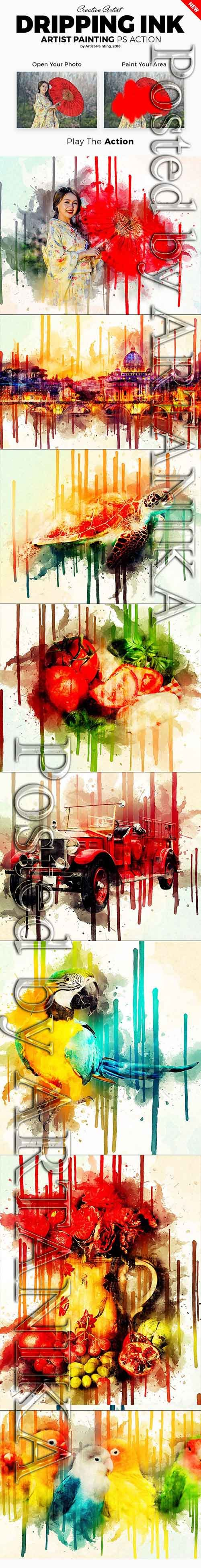 Dripping Ink Artist Painting Photoshop Action 21399581