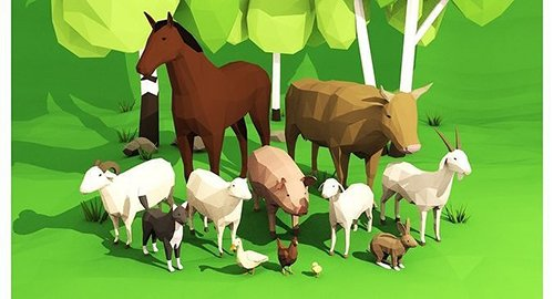 Domestic animals rigged pack Low-poly 3D model