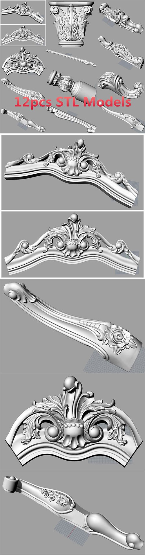 Bed sofa back flower STL relief model for cnc carving S037 3D model