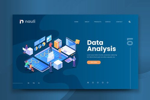 Isometric Data Analysis Web PSD and AI Template