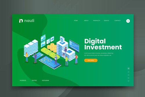 Isometric Digital Investment Web PSD and AI Vector
