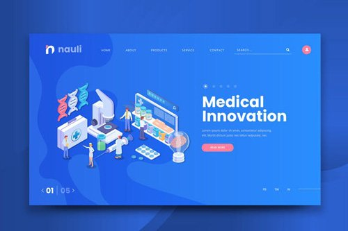 Isometric Medical Innovation Web PSD and AI Vector