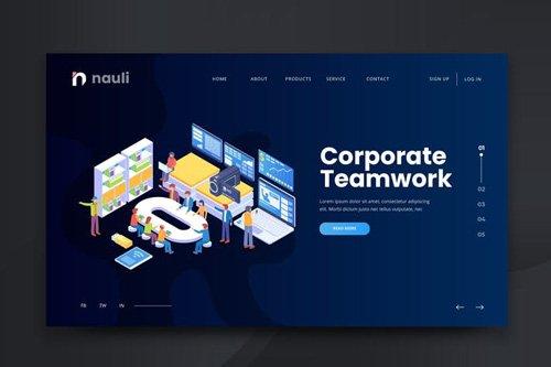Isometric Corporate Teamwork Web PSD and AI Vector