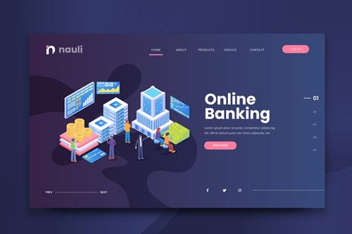 Isometric Online Banking Web PSD and AI Vector