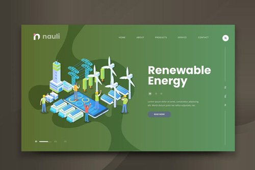 Isometric Renewable Energy Web PSD and AI Vector