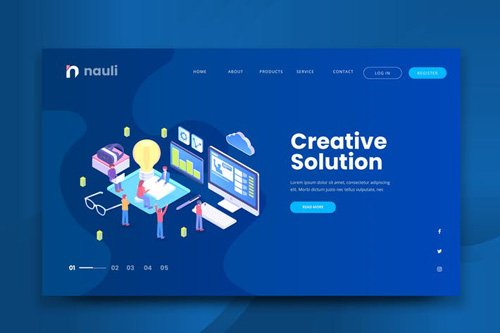 Isometric Creative Solution Web PSD and AI Vector