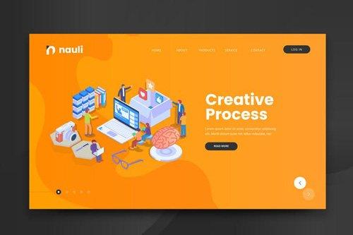 Isometric Creative Process Web PSD and AI Vector