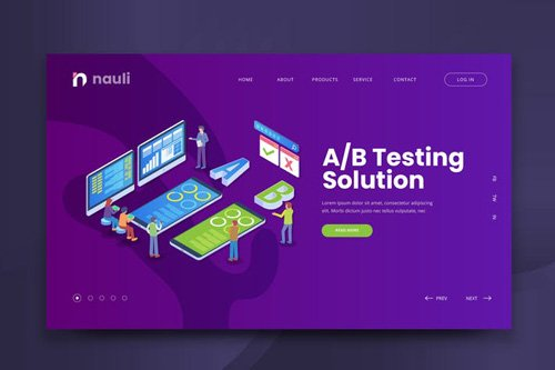 Isometric A/B Testing Solution Web PSD and AI Vect