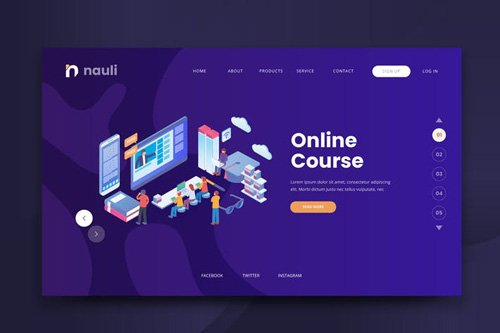 Isometric Online Course Web PSD and AI Vector