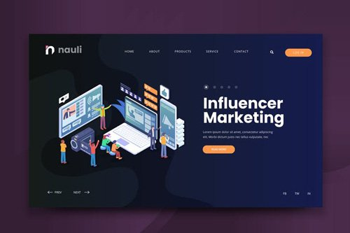 Isometric Influencer Marketing Web PSD and AI