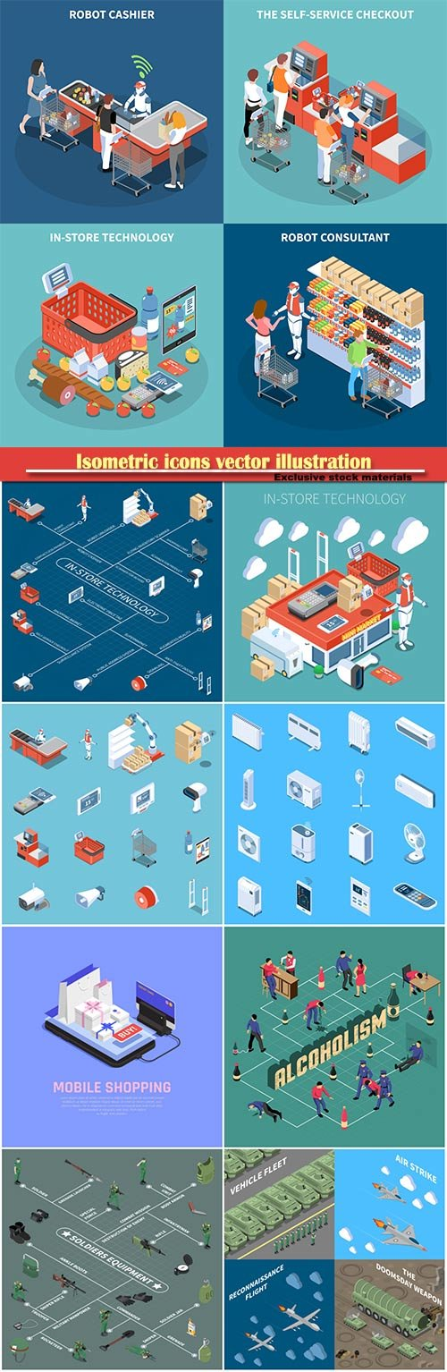 Isometric icons vector illustration, banner design template # 4