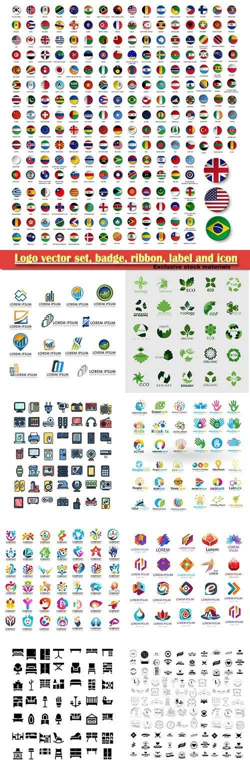 Logo vector set, badge, ribbon, label and  icon # 6