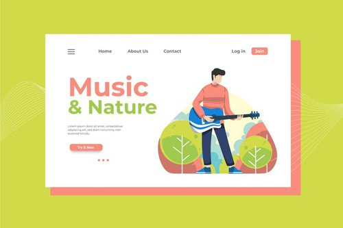 Music and Nature Landing Page Illustration