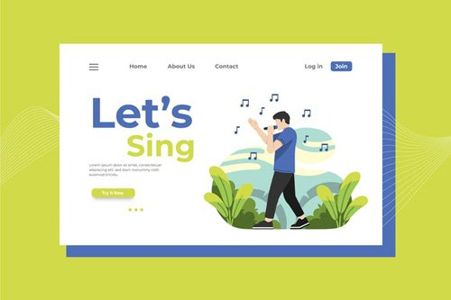 Let's Sing Landing Page Illustration