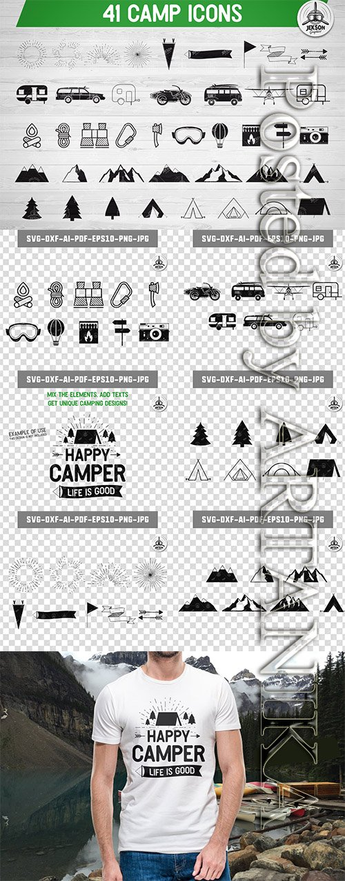Adventure Icons Bundle, Travel Clipart, Camp Retro
