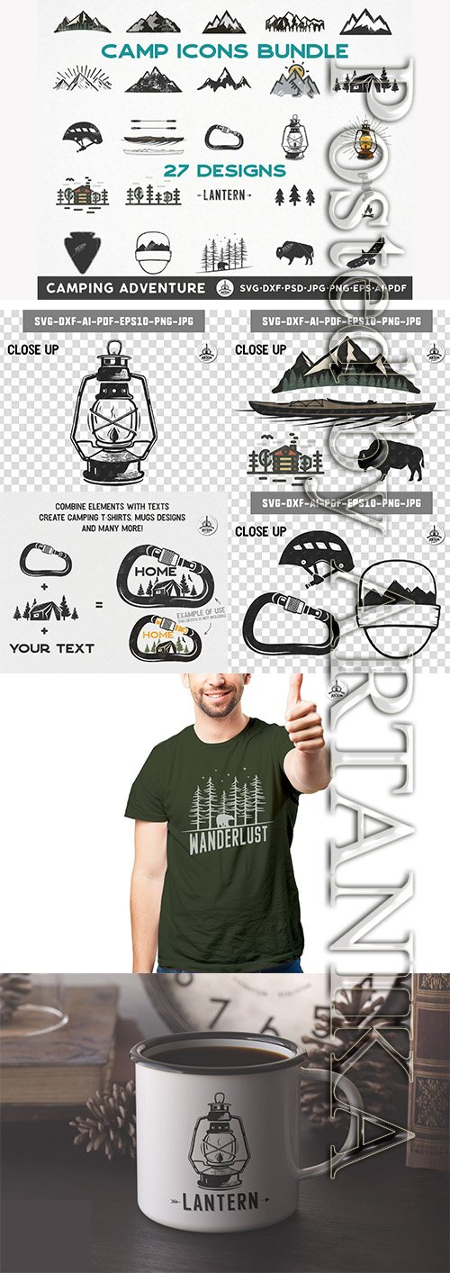 Camping Icons Bundle, Travel Clipart, Retro style