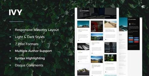 ThemeForest - Ivy v4.0.0 - Responsive Masonry Ghost Theme - 9482468