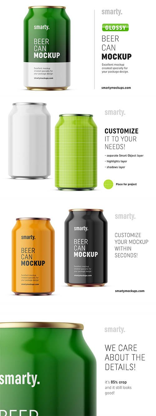 CreativeMarket - Glossy drink can mockup front 3370908