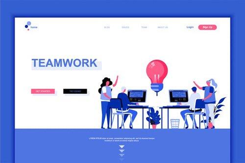 Teamwork Flat Landing Page Template