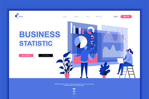 Business Statistic Flat Landing Page Template