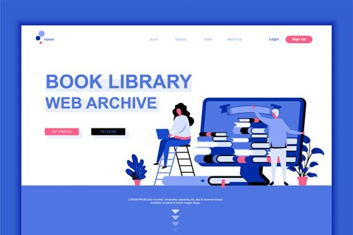 Book Library Flat Landing Page Template