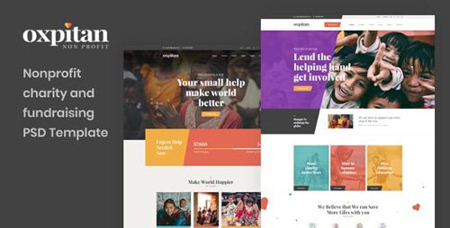 ThemeForest - Oxpitan v1.0 - Nonprofit Charity and Fundraising PSD Template - 23469753