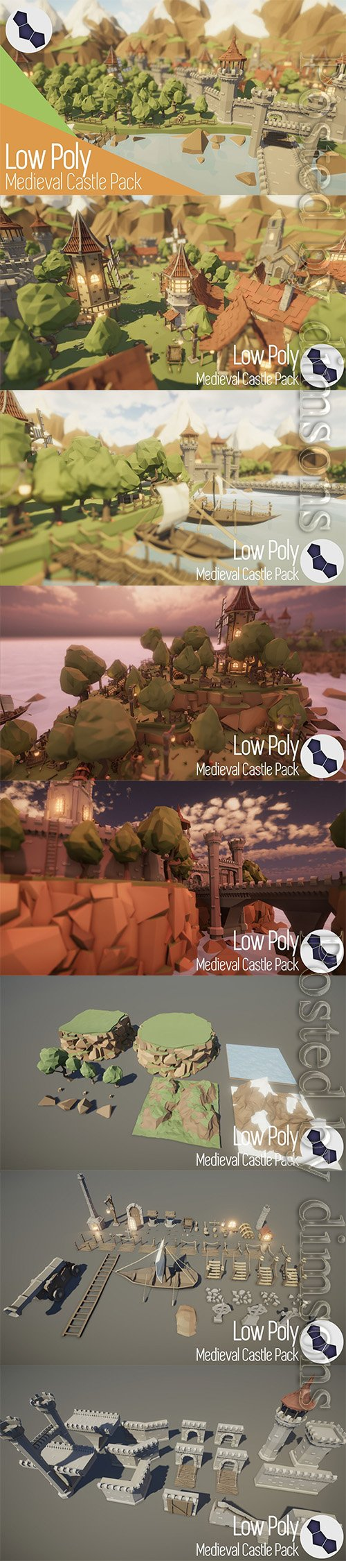 Low Poly Medieval Castle Pack Low-poly 3D model
