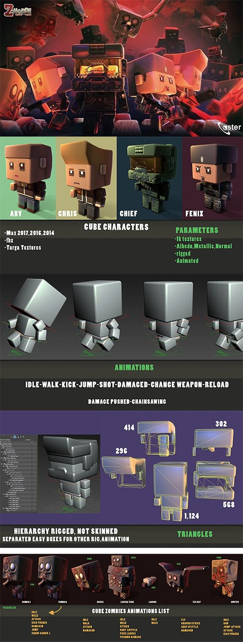 CUBE APOCALYPSE PACK Low-poly 3D model