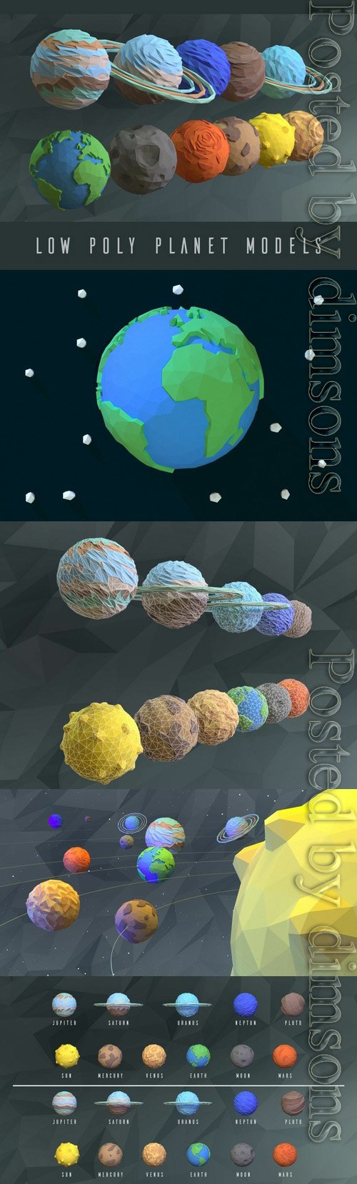 Low poly planets Low-poly 3D model