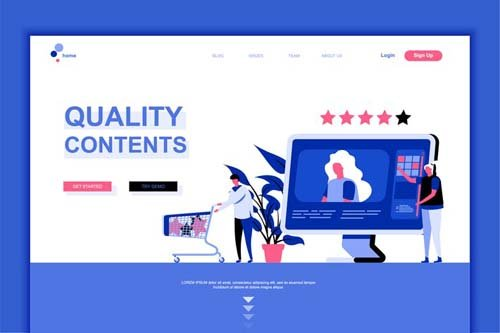 Quality Content Flat Landing Page Template