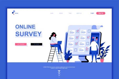 Online Survey Flat Landing Page Template