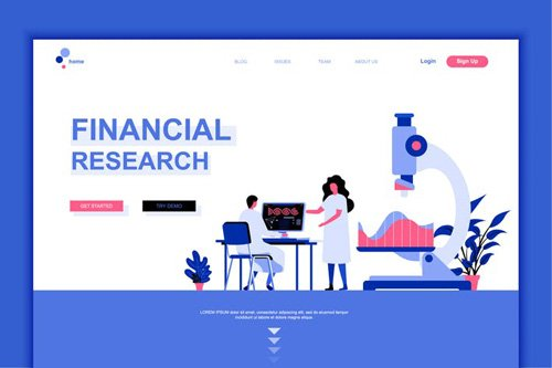 Financial Research Flat Landing Page Template