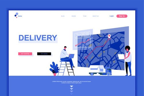 Worldwide Delivery Flat Landing Page Template