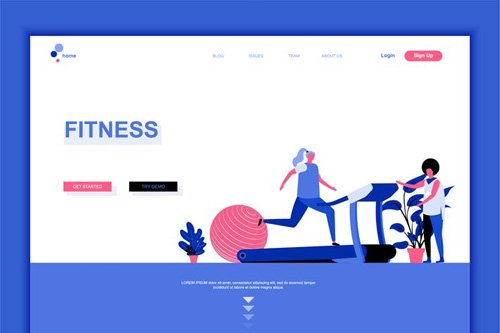 Fitness Flat Landing Page Template