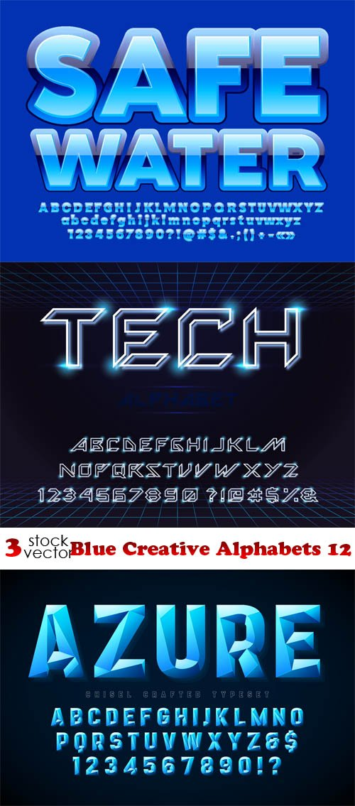 Vectors - Blue Creative Alphabets 12