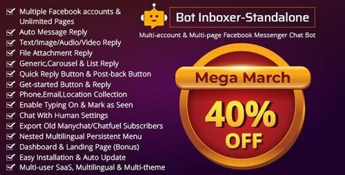 CodeCanyon - Bot Inboxer v2.4.1 - Standalone : Multi-account & Multi-page Messenger Chat Bot for Facebook - 22285301 - NULLED